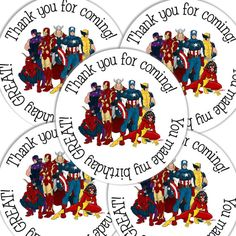 20  2 Inch round Avengers Birthday sticker labels party favors