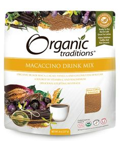 Organic Traditions Macaccino is a delicious superfood coffee substitute made from Certified Organic Cacao Powder, Black Maca Roots, Vanilla powder and Coconut Palm Sugar. This incredible blend combines 4 powerful antioxidant rich superfoods into a nutritious, uplifting beverage. This is a healthy and energizing replacement for high caffeine coffee and tea. Considered to be one of the Amazon's most important superfoods, Maca has been used since the Incas as part of a daily diet and has been…