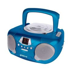 Brand New groov-e Boombox Portable Stereo CD Player with Radio Blue Boombox, Portable Speakers, Audio Player, Christmas Ideas, Egg, Blue, Amazon, Eggs, Riding Habit