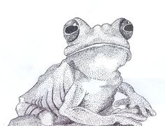 Frog made with pointillism by ~LaCaritas on deviantART This is a technique I know as stippling... really cool frog..