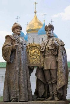 These two statues of Tsar Mikhail I of Russia and Tsar Nicholas II of Russia -Located not far from the Kremlin walls,in the Alexander Garden and dedicated to the 300 - anniversary of the Romanov dynasty. Statues, Tsar Nicolas, Familia Romanov, House Of Romanov, Peter The Great, Rasputin, Russian Orthodox, Imperial Russia, Kaiser