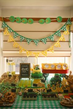 John Deere birthday party tabletop in John Deere green.  See more John Deere birthday party ideas at www.one-stop-party-ideas.com