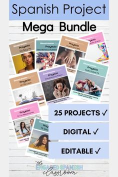 This bundle of digital projects is perfect for middle and high school Spanish classes. Every project is editable and digital! Save yourself hours of time, and rest assured that you're assigning quality projects with scaffolded student support. Click through to take a closer look! Spanish Teacher, Spanish Classroom, Teaching Spanish, Study Spanish, Spanish 1, Spanish Grammar, Spanish Projects, Class Projects, Google Drive