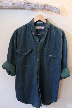 Vintage Forest Green Denim Mens Button Up Shirt  by TheBlackVinyl, $28.00 #menswear #denim shirt