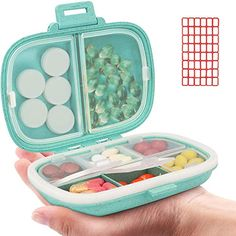 Daily Pill Organizer, 8 Compartments Portable Pill Case, Pill Box to Hold Vitamins, Cod Liver Oil, Pill (1-Blue) Holii The Body Shop Gifts, Party Gadgets, Fish Oil Vitamins, Weekly Pill Organizer, Cod Liver Oil, Pill Boxes, Organization, Witchcraft Herbs, Amazon