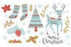 Big cute christmas set by utro_na_more on @creativemarket