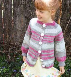 Playtime Cardigan by Stefanie Japel - easy, fun top- down, seamless cardigan sweater to knit for girls and boys sizes 2, 4, 6, 8, 10. - via @Craftsy