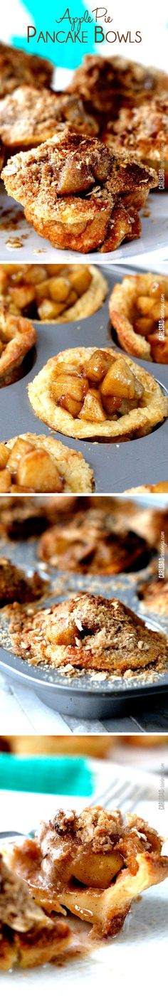Doesn't get better than apple pie AND pancakes! Easy German pancake batter baked in a cupcake pan then layered with warm, cinnamon apples and topped with brown sugar crumb topping. Basically amazing.