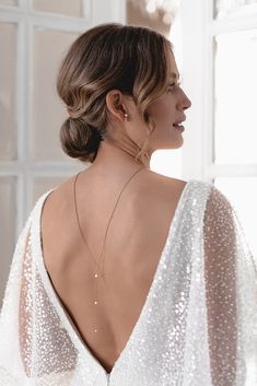 SIMPLICITY | The NEW Collection by JUVELAN #ad Backless Gown, Backless Wedding, Modern Bridal Jewellery, Bridal Jewelry, Back Necklace, Crisp White Shirt, Wedding Dress Styles, Bridal Boutique, Maid Of Honor