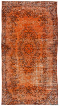Over-dyed Turkish vintage rug created by first neutralizing the colors and then over-dying to orange to achieve a contemporary effect and bring old hand-made rugs back to life. (ID: K0007557)
