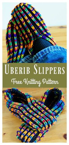 Uberib Slippers Free Knitting Pattern #freeknittingpattern #knittingpattern #slippers