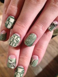 money nails-more a full covered nail with the dollar bill