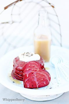 Red velvet pancakes with buttermilk syrup