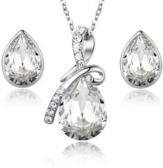 Eternal Love Teardrop Swarovski Elements Crystal Pendant Necklace and Stud Earrings Set | http://www.amazon.com/gp/product/B00DZL9A84/ref=as_li_qf_br_asin_il_tl?ie=UTF8&camp=1789&creative=9325&creativeASIN=B00DZL9A84&linkCode=as2&tag=f02748-20