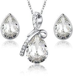 Eternal Love Teardrop Swarovski Elements Crystal Pendant Necklace and Stud Earrings Set   http://www.amazon.com/gp/product/B00DZL9A84/ref=as_li_qf_br_asin_il_tl?ie=UTF8&camp=1789&creative=9325&creativeASIN=B00DZL9A84&linkCode=as2&tag=f02748-20