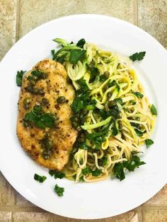 Chicken Piccata recipe with pasta and with capers, fresh parsley, zoodles, and a fresh lemon sauce. This chicken piccata recipe will have you coming back for seconds! Mexican Chicken Recipes, Chicken Pasta Recipes, Healthy Chicken Recipes, Spicy Recipes, Wine Recipes, Gremolata Recipe, Yellow Squash And Zucchini, Chicken Piccata, Italian Dishes