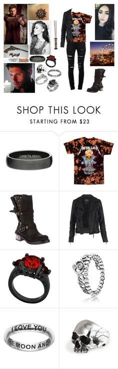 """Going to fair with Dean🖤🔪"" by mackenna-1 ❤ liked on Polyvore featuring Yves Saint Laurent, BALDAN, AllSaints, Pandora, Primrose and Sons of Anarchy"