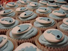 Aww tarheel baby shower cupcakes!
