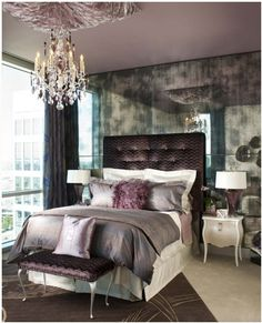 love the colors of this room - purple and grey