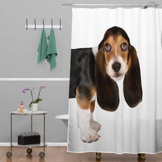 Shower curtains from Deny Designs... Bassett Hound Dog on white shower curtain... Also available for the home... Sheets, coasters, clocks... http://www.denydesigns.com/collections/shower-curtains/ar-susan-goddard #dogsonwhite #denydesigns #dog #bassetthound #showercurtain #homedecor #dogshowercurtain #moderndesign