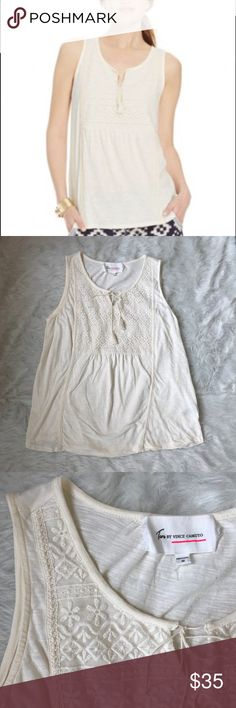 Two by Vince Camuto tassel embellished tank TWO by Vince Camuto Tassel-Embellished Embroidered Tank. Cotton/rayon Machine washable Imported Scoop neckline with keyhole detail and tasseled self-tie closure Pullover style Sleeveless tank. Perfect for summer. Like new condition. No trades. Two by Vince Camuto Tops Tank Tops