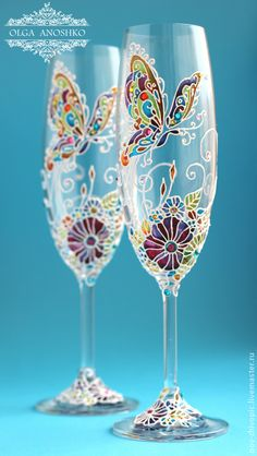 Wedding flutes | Hand painted stained glass. Colorful rainbow.
