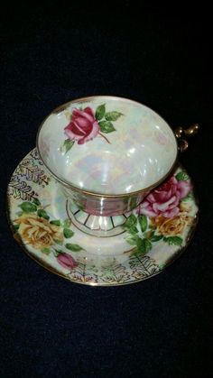 Ucagco China Tea Cup Saucer June Rose Iridescent Great Condition W/ Stickers…