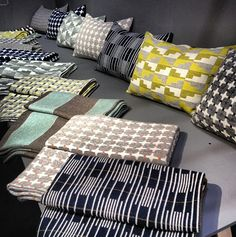 Patterned Textiles from Eleanor Pritchard — NY Now Gift Fair - Apartment Therapy Main Upholstery Fabric Uk, Weaving Textiles, Hearth And Home, Gorgeous Fabrics, Creative Decor, Textile Patterns, Soft Furnishings, Home Textile, Decoration
