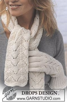 Free knitting patterns and crochet patterns by DROPS Design Knitting Stitches, Knitting Patterns Free, Free Knitting, Free Pattern, Drops Design, Alpaca Scarf, Mittens Pattern, Alpacas, Knitted Gloves