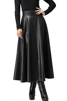 3152569961a ELESOL Women s Pleated High Waist Faux Leather Skirts Swing A-Line Maxi  Skirt