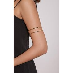 Danah Gold Cut Out Upper Arm Cuff ($3.89) ❤ liked on Polyvore featuring jewelry, bracelets, yellow, gold jewelry, party jewelry, yellow gold jewelry, gold jewellery and arm cuff jewelry