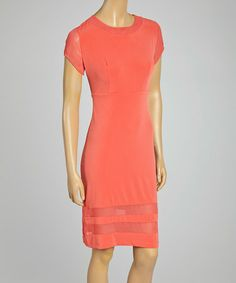 Loving this Coral Sheer Sheath Dress on #zulily! #zulilyfinds