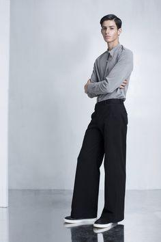 A Men's Minimalistic Grey Tailored Shirt with Mandarin Collar and Extreme Wide Legged Pants - ARIEL BASSAN Menswear Fashion Design - AW16 LookBook
