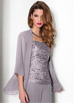 Wonderful Pant Suits Chiffon & Lace Square Neckline Full-length Mother Of The Bridal Dresses