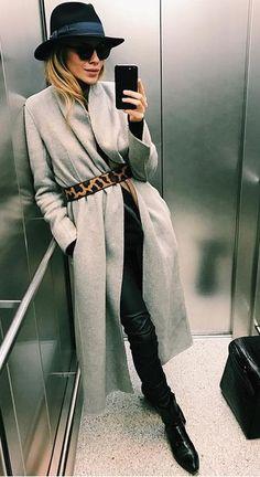 grey coat. animal print belt. chic style.