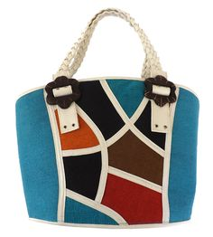Green Breeze Imports  Teal Bright Abaca Bag.  This is an attention getter with plenty of room. The large faux-leather white strap makes it very comfortable over the shoulder