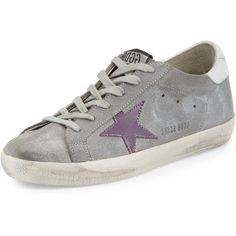 Golden Goose Superstar Embroidered Low-Top Sneaker ($480) ❤ liked on Polyvore featuring shoes, sneakers, grey, shoes sneakers, gray flats, lace up flats, round toe flats, grey suede shoes and metallic flats