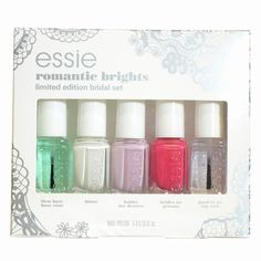 See what customers say about Essie Romantic Brights 5 Piece Mini Set Bridal 2015 at Image Beauty. Nail Polish Kits, Essie Nail Polish, Bridal 2015, Bridal Sets, Cool Hairstyles, Nail Designs, Romantic, Bright, Nail Design