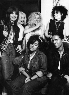Chrissie Hynde, Debbie Harry, Viv Albertine (the Slits), Siouxsie Sioux, Poly Styrene and Pauline Black (the Selecter), 1977