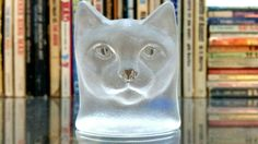 Vintage Nybro Sweden Art Glass Cat Bust, Cat Head Figurine, Clear Glass Paperweight Decor, Cat Lover Gift, Swedish glass paperweight by FoxLaneVintage on Etsy Cat Lover Gifts, Cat Lovers, Clear Glass, Glass Art, Glass Paperweights, Eclectic Decor, Paper Weights, Sweden, Shot Glass