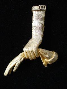 Vintage 1950s Balenciaga Brooch Pin Hand Glove