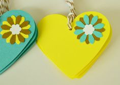 Gift Tag, Gift Label, Teal Yellow Brown Heart Tags, Die Cut Heart Tag, Paper Heart, Set of Ten. $6.00, via Etsy.