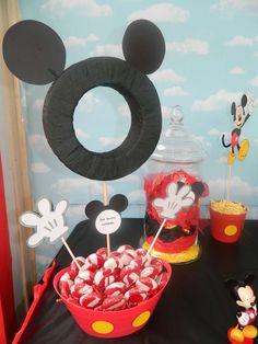 Lollipops at a Mickey Mouse birthday party! See more party ideas at CatchMyParty.com!