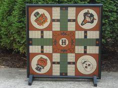 PRIMITIVE HALLOWEEN GAME BOARD, PARCHEESI , FOLK ART GAME BOARD, WOOD in Antiques, Primitives   eBay