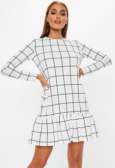 White Grid Frill Detail Shift Dress | Missguided