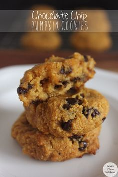 Paleo Chocolate Chip Pumpkin Cookies - blanched almond flour, coconut flour, egg, coconut oil/butter, pumpkin puree, honey (sub another sweetener), vanilla extract, Himalayan sea salt, baking soda, pumpkin spice, chocolate chips (use sugar-free)