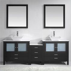 "Lowest price online on all Virtu Brentford 90"" Stone Double Bathroom Vanity Set in Espresso - MD-4490-S-ES"