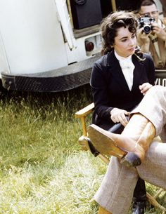 "deforest: "" Elizabeth Taylor during the filming of Giant, 1955 """