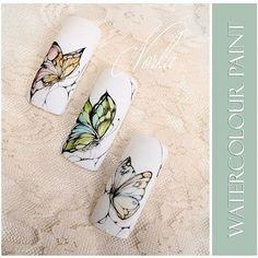 Nail art with Mijello for Moyra watercolour. #moyra#nail#nailart#watercolour#butterfly#naildesign#akvarell#festes#pillango#korom#koromdiszites#mijello#norka#