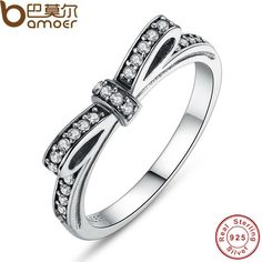 Bamoer 925 Sterling Silver Sparkling Bow Knot Ring